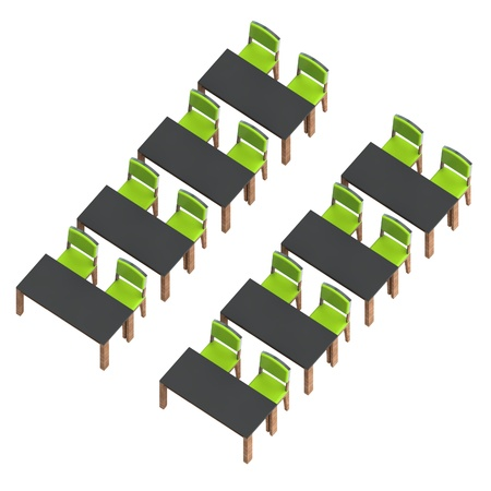 isolated school classroom workplace with eight wooden tables and green wooden chairs in isometric view illustration illustration