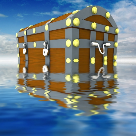 water chestnut: wooden metal handmade pirate chest with gold treasure heritage situated on blue sky and water background render illustration