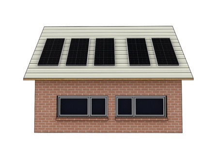 isolated new brick facade house picture side view perspective on roof solar panels and floor reflection render illustration illustration