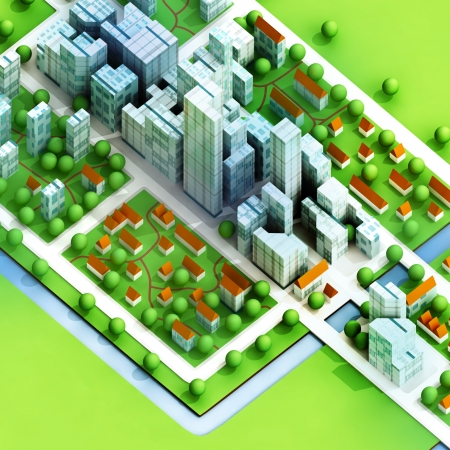 expansion: enviromantal new sustainable city concept development illustration perspective render illustration  Stock Photo