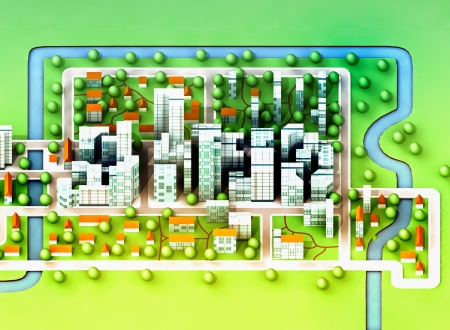 landscape top view on new sustainable city concept development illustration perspective render illustration Stock Illustration - 15726521