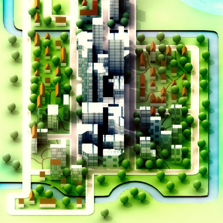 landscape isometric view on new sustainable city concept development illustration perspective render illustration Stock Illustration - 15726545