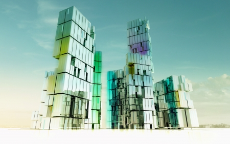 morning shining glass buildings of business city project render illustration Stock Illustration - 15726546