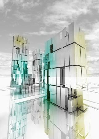 shinning: shinning and alight skyscraper business city design concept render illustration