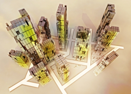 yellow alight skyscrapers business city design concept render illustration illustration