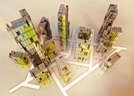 alight: yellow alight skyscrapers business city design concept render illustration