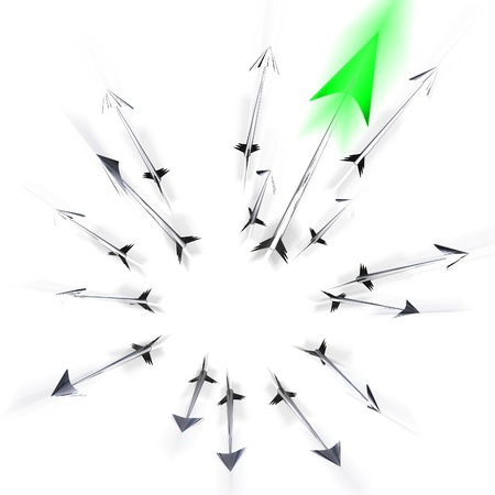 darts flying: Group of flying metallic  darts and arrows illustration