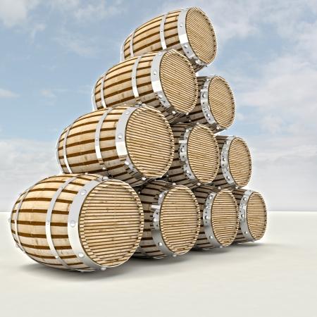 several barrels of alcohol drink storage render illustration illustration