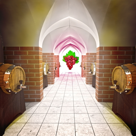 several barrels with old wine cellar perspective view render illustration illustration