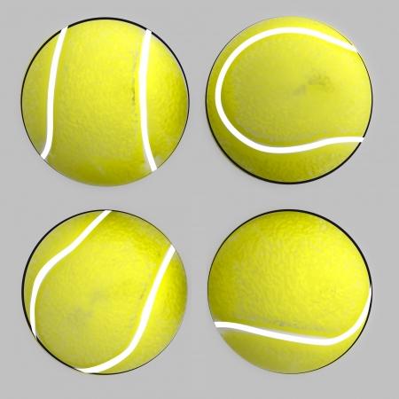 tenis: four isolated tennis balls render illustration