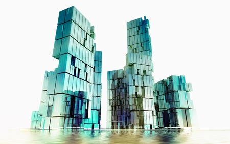 island shining glass buildings of business city project render illustration Stock Illustration - 15793836