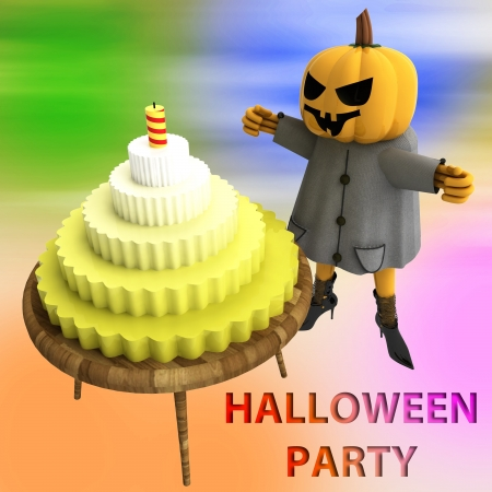 pumpkin witch with cake on wooden table with colorful background render illustration illustration