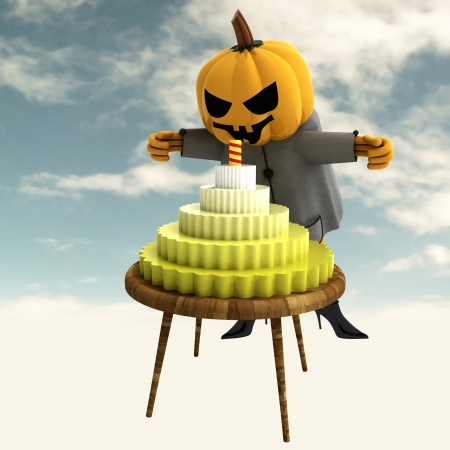pumpkin witch with celebration cake on table with colorful background render illustration illustration