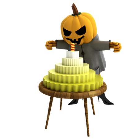isolated pumpkin witch with cake and candle on table render illustration