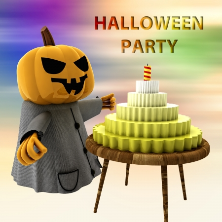 pumpkin witch with cake on table with colorful background render illustration illustration