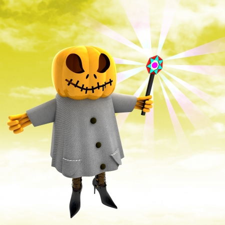 casting: pumpkin witch casting spell with yellow sunset background render illustration