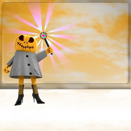 pumpkin witch with magic wand ahead of orange board template render illustration illustration
