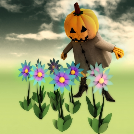 halloween pumpkin witch in mystic flower dark garden render illustration illustration