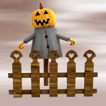 stockade: halloween pumpkin bogey witch behind fence render illustration Stock Photo