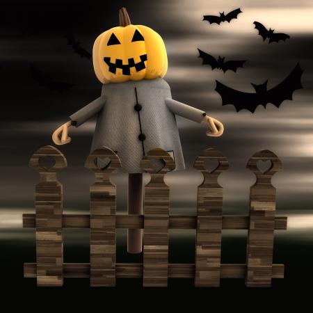 stockade: halloween pumpkin witch behind fence with bats render illustration