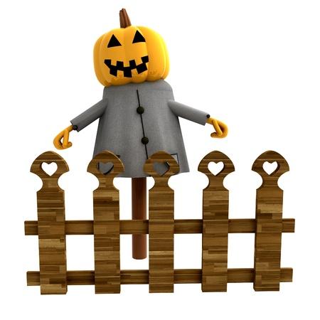 stockade: isolated halloween pumpkin witch behind fence render illustration