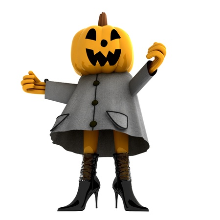 isolated pumpkin halloween girl standing render illustration Stock Illustration - 15793516