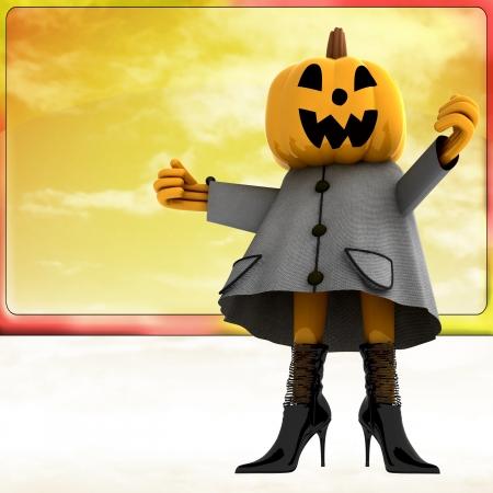 pumpkin halloween girl standing in front of sky teplate render illustration Stock Illustration - 15793671
