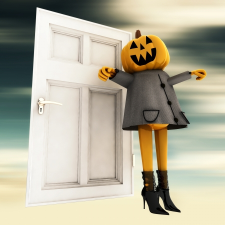 pumpkin halloween witch standing in front of door blur background render illustration Stock Illustration - 15793587