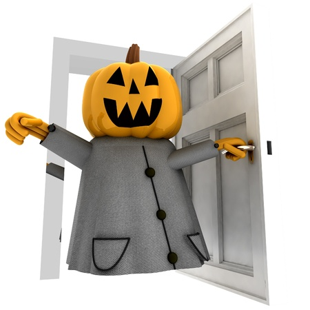 isolated pumpkin halloween witch opening front of door render illustration illustration