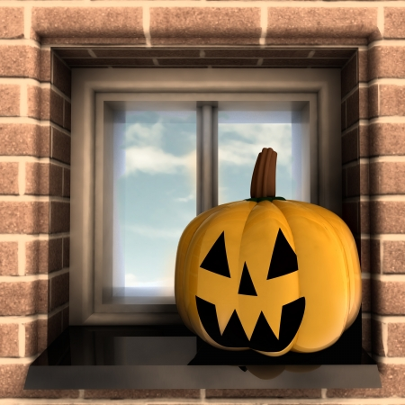autumn pumpkin halloween head situated at window render illustration illustration