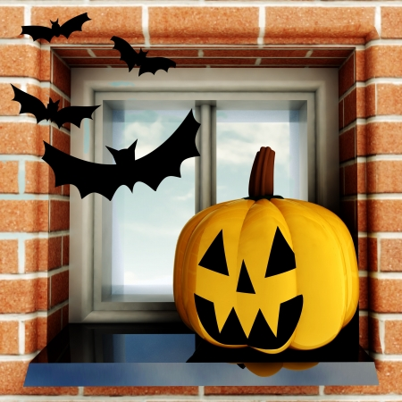 pumpkin halloween head situated at window with bats render illustration illustration
