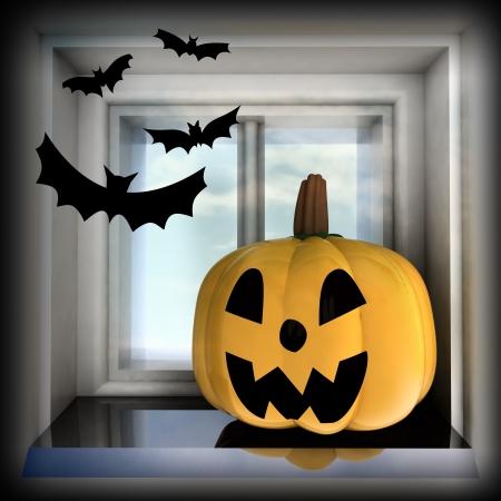 pumpkin halloween head situated on sill with bats render illustration Stock Illustration - 15793547