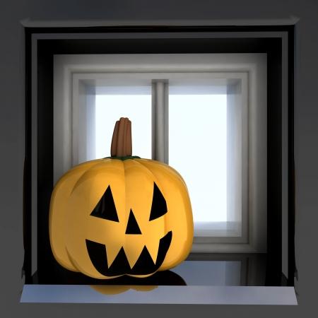 windowsill: pumpkin halloween head situated on windowsill render illustration