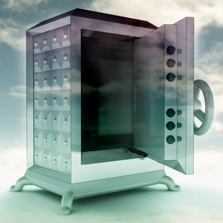 impregnable: impregnable blue metallic opened vault with sky render illustration