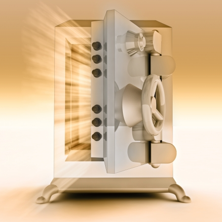 heavy reinforced gold metallic opened bank vault render illustration illustration