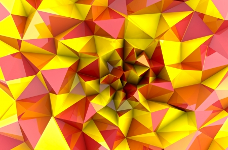 abstract autumn red yellow triangular three dimensional shape perspective background photo