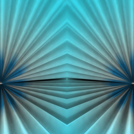 Stair abstract symmetric shape background with blue cyan light rendering backdrop photo