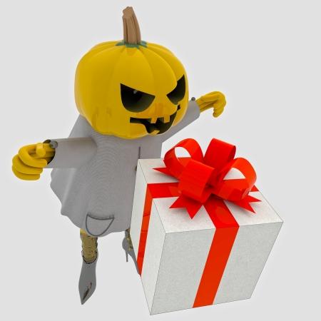 suprise: halloween pumpkin witch has gift suprise on grey render illustration