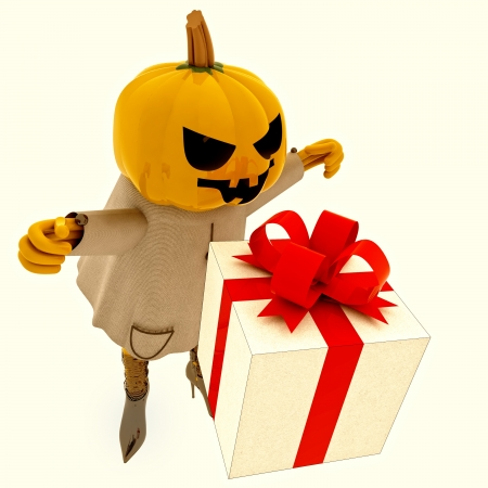 suprise: isolated halloween pumpkin witch has gift suprise with bats render illustration