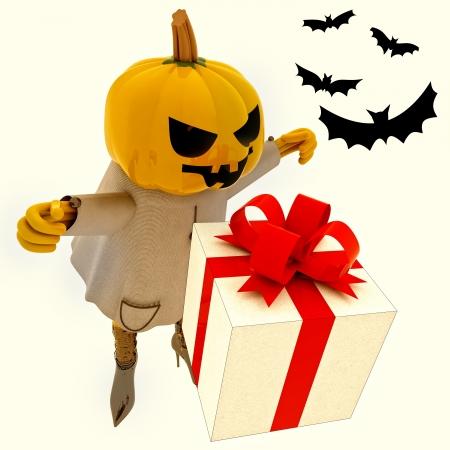 suprise: halloween pumpkin witch has gift suprise with bats render illustration