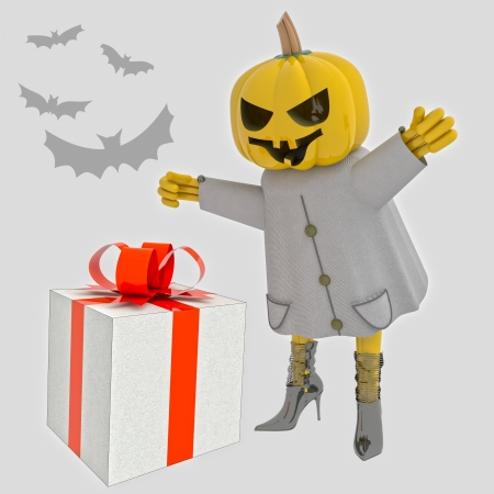 halloween pumpkin witch with present and bats render illustration illustration