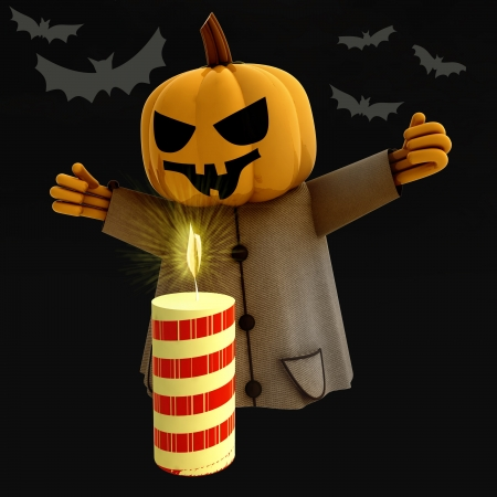 halloween pumpkin witch with lighted candle and bats render illustration Stock Illustration - 15794057