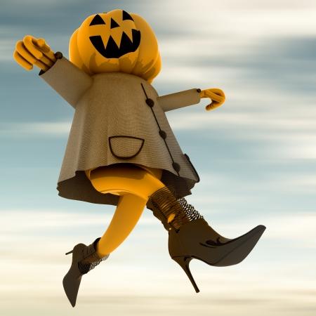 dancing halloween pumpkin witch with blue sky background render illustration Stock Illustration - 15794095
