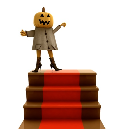 isolated halloween pumpkin standing on red carpet staircase render illustration illustration