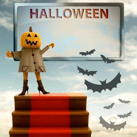 halloween pumpkin standing on red carpet staircase template render illustration illustration