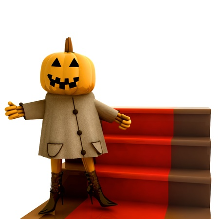 isolated halloween pumpkin standing on red carpet render illustration illustration