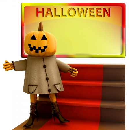 isolated pumpkin standing on red carpet template render illustration illustration