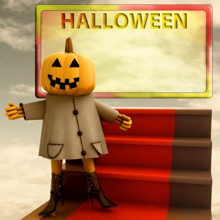 pumpkin standing on red carpet yellow template render illustration illustration
