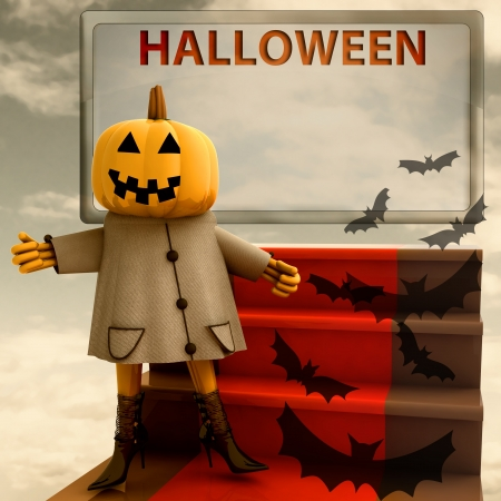 halloween pumpkin standing on red carpet template render illustration illustration