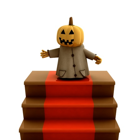 isolated halloween pumpkin standing on red carpet stairs render illustration illustration
